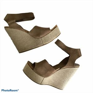 Pedro Garcia Temple Suede Wedge Sandal Size 10